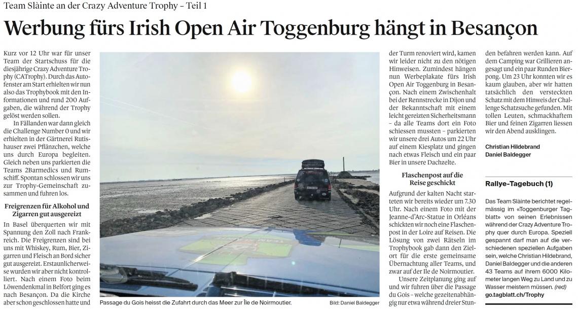 Werbung fürs Irish Open Air Toggenburg hängt in Besançon
